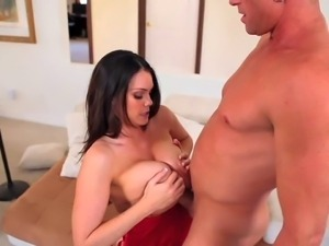 Alison Tyler is a horny lady in red lingerie. This thick ass brunette gets...