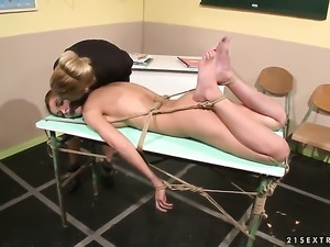 Blonde Nikky Thorne gets her beaver licked many times by Betty Stylle before...