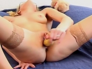 Blonde amateur German teen getting to use more than her toys to satisfy her...