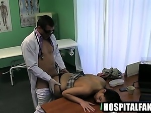 Hot brunette gets fucked doggystyle by her doctor