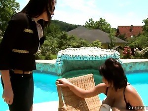 Blonde Andy Brown with gigantic boobs is in heat in girl-on-girl action with...