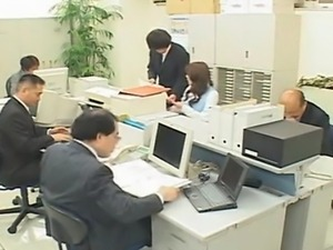 Busty Japanese girl getting screwed in the office toilet