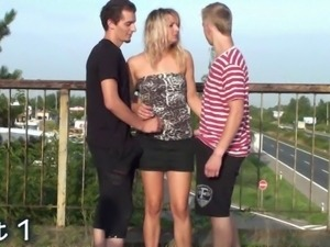 Group sex orgy gang bang on a public bridge Part 1