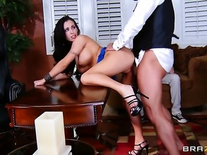 Jenna Presley with giant boobs shows oral sex tricks to Toni Ribas with...