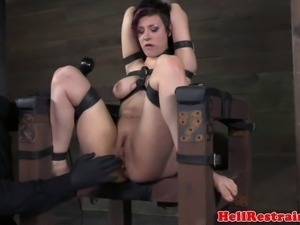 Restrained bounded bdsm sub squirting as her clit is stimulated