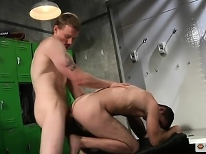 Brandon and Trent fuck in the locker room after a hot