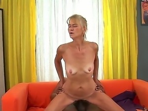 Skinny granny Beata A is delighted to have Franco Roccafortes huge black...