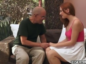Red Kitty gets her pussy old man fucked