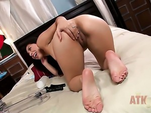 Brunette sexy Nicole Ferrera with small tits and smooth twat kills time...