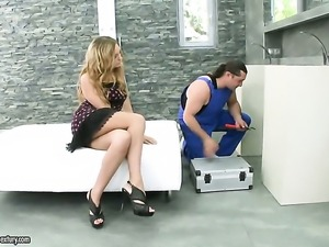 Blonde with massive knockers gets the mouth fuck of her dreams with hard...
