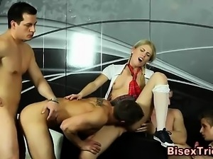 Bisexual fuck train and threeway sucking