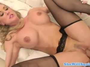 Squirty blonde milf gives head and more while giving us a few of her huge tits