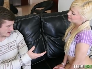pony tails petite blonde knows how to suck