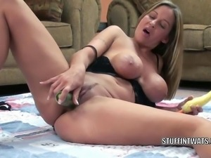 Mature hottie Leeanna Heart is using some big veggies to fuck her sweet pussy