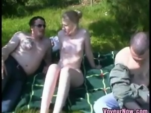 Very pale white girl likes to be fucked outdoors by the garden