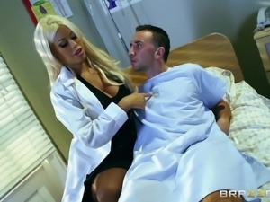blonde doctor will take care of him with her boobs