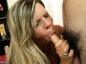 Blonde is one oral slut that gives guys meaty love stick a try