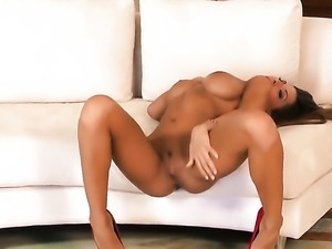 Madison Ivy with massive jugs and smooth muff shows it all as she plays with...
