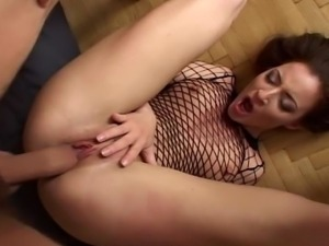 Whore takes three cocks and ass cream pie