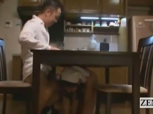 Subtitled nudist Japanese maid dinner time blowjobs
