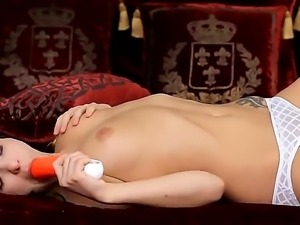 Astonishing babe Penelope with delicious melons and sweet pussy sucks a new toy