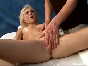 Sensual blonde belle gets massaged and fingered