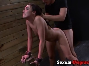 Mouth fucked bound slave gags on cock and gets rammed