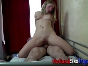 Real dutch whore gets cumshot fucking tourist for cash