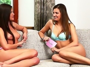 Stunning lesbian Caprice strips together with her beautiful female friend...