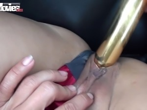 This is a hot video, a cute German girl giving a dildo show while being...
