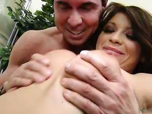 Halie James shows off her hard clit as she gets nailed by Peter North