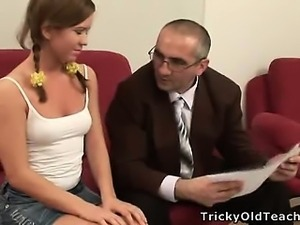 Cute sexy bitch gets hardcore with old professor.