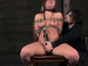 Breast tied bitch in electrosex being humiliated