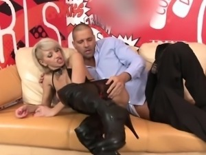 Pierced blonde mature slut fucks on sofa