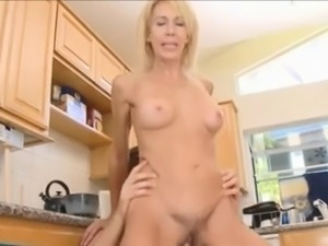 Thin mom with hairy pubis, small tits & guy