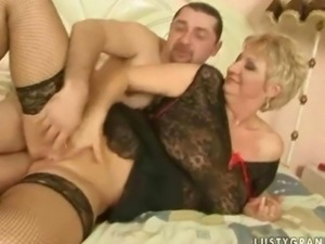 Busty grandma in sexy stockings gets fucked