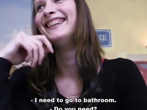 Bitch STOP - Pretty brunette fucking in public toilet