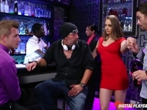 hot chick in red dress gets seduced