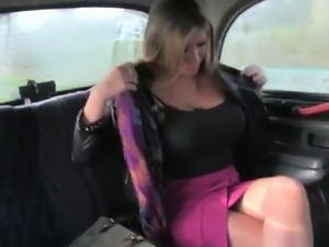 Huge tits brown haired hottie fucked in faketaxi