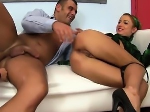 Glam clothed hoe gets ass fucked
