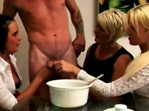 CFNM euro cougars collecting cum for their cum bucket challe