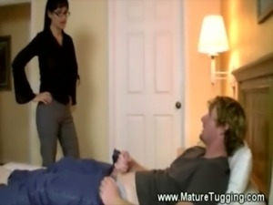 Sexy milf jerks off her younger lovers huge cock free