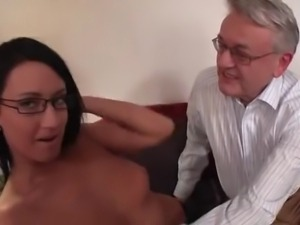 College girl licked and fucked by old man