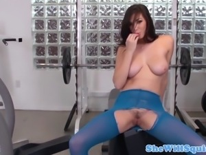 Squirting babe in stockings swallows cum