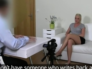 Busty blonde amateur bimbo fucks on casting