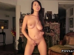 Busty Asian amateur takes multiple orgasms pov