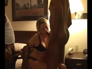 Amateur Blond Wife Stuffed by 2 BBC Bareback Creampie