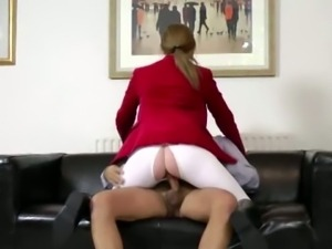 Young babe rides an old cock instead of a horse