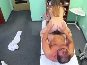 Sexy patient paid her doctor with sex in an office