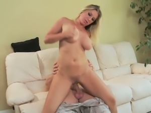 Busty blonde Devon Lee sucks and rides a hard cock